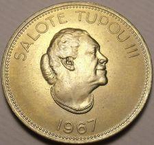 Buy Rare Gem Unc Tonga 1967 50 Seniti~Taufa'ahau Tupou III~Only 75,000 Minted~FR/Shi