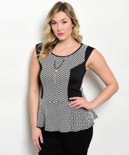 Buy Janette Plus Women's Peplum Top Size 1XL-3XL Zigzag Print Cap Sleeves Pullover