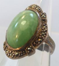 Buy sz 7 vintage Ring Sterling Setting Oval Green Cabochon & Prong Set Marcasite
