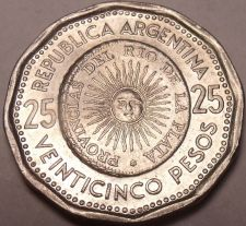 Buy Large Unc Argentina 1968 25 Pesos~1st Issue Of Coinage~Sunface~Key Date~Free Shi
