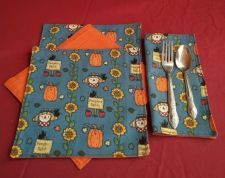 Buy 100% Cotton Dinner napkins handmade blue with fall harvest motif set of 4