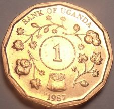 Buy Unc Uganda 1987 Shilling~Only Year Ever Minted This Type~Free Shipping~