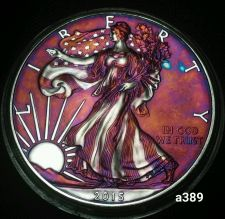 Buy 2015 Rainbow Monster Toned Silver American Eagle 1oz fine with velvet case #a389