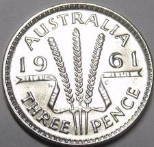 Buy Gem Unc Silver Australia 1961 3-Pence~Three Wheat Stalks~Free Shipping