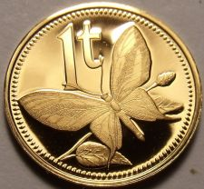 Buy Rare Proof Papua New Guinea 1976 Toea~Butterfly~Only 16,000 Minted~Free Shipping