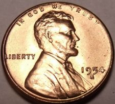 Buy United States 1954-S Unc Lincoln Wheat Cent~Free Shipping