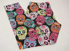 Buy SIZE XL Women Skull Leggings Multi Colored HALLOWEEN GOTHIC Skinny Leg Inseam 29