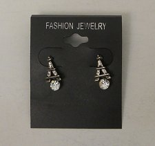 Buy Women Fashion Stud Earrings Silver Eiffel Tower Rhinestones FASHION JEWELRY Push