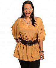 Buy Womens Tunic Top SIZE 2XL COC. Solid Caramel Kimono Sleeves V-Neck Belt