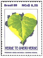 Buy BRAZIL Commemorative Stamps --environmental conservation–Brazil 1989 Map of Braz