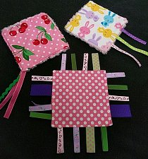 Buy Set of 3 handmade infant ribbon crinkle minky toys, free shipping in U.S.