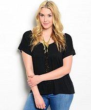 Buy PLUS SIZE 1X Womens Knit Top ROMAN Black Lace Bow Trim Scoop Neck Cap Sleeves