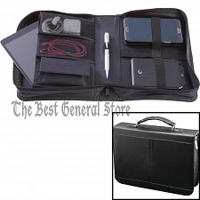 Buy Black Cowhide Leather Electronics Travel Case with Interior Pockets and Handle