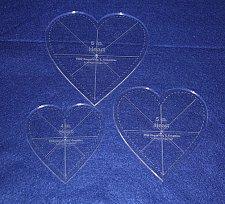 "Buy 3 piece Heart Set w/guidelines & Seam Allowance- 1/4"" Acrylic-Clear -"