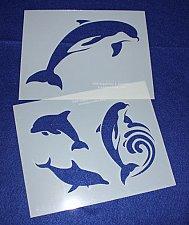 Buy 2 Piece Set -Mylar 14 Mil Dolphin Stencils Painting/Crafts/Stencil/Template