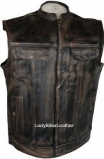 Buy Mens SNAP/ZIP Distressed BROWN Leather CONCEALED CARRY Motorcycle CLUB Vest SOA