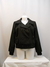Buy Womens Peacoat Double Breasted PLUS SIZE 3X Solid Black Long Sleeves Collared
