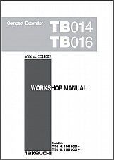 Buy Takeuchi TB014 TB016 Compact Excavator Service Workshop Manual on a CD