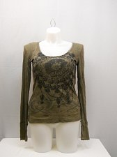 Buy Women T-Shirt SIZE L Taupe Long Sleeves Scoop Neck Back Lace Yoke WEAVERS