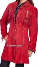 Buy Ladies BEADED Red SUEDE Leather WESTERN FRINGE 3/4 Length COAT Jacket CONCHOS