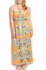 Buy SIZE XL 1XL 2XL Womens Strapless Maxi Sundress BELLEZZA Orange Geometric Casual
