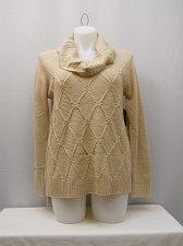 Buy Women Tunic Sweater Size L Medium Knit Cowl Draped Neck Oatmeal Long Sleeves