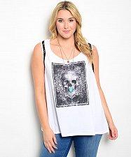 Buy SIZE 0 Womens Knit Top TORRID White Gothic Skull Scoop Neck Sleeveless Pullover