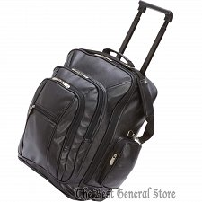Buy Black Faux Leather 19' Trolley / Backpack Luggage Tote with Telescopic Handle