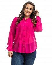 Buy PLUS SIZE 1X Women Chiffon Button Shirt Solid Fuchsia Pleated Long Sleeves Sheer