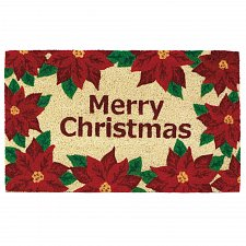 "Buy *18117U - Christmas Poinsettias Welcome Coir & PVC Door Mat 30""x18"""