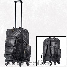 "Buy 22"" Patchwork Leather Trolley Bag Backpack Telescopic Handle Spinner Wheels Tote"