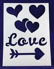 Buy 1 Piece -Mylar 14 Mil Hearts/Valentines Day Stencils Painting/Crafts/Stencil