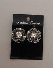 Buy Womens Fashion Earrings Silver Floral Cluster Rhinestones FASHION JEWELRY Push B