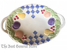 "Buy Treasure Craft USA Hopscotch Pattern Fruit 15"" Oval Serving Platter with Handles"