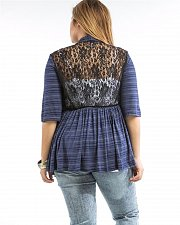 Buy Womens Wrap Cardigan PLUS SIZE 1XL 2XL ABAN Navy Striped Lace Back 3/4 Sleeves