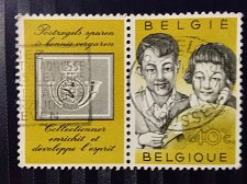 Buy Belgium used setenant pair stamp 1960 Young philatelists