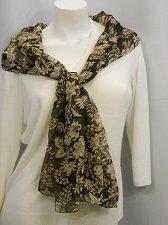 Buy Women Scarf Brown Floral Print Stole Shawl Wrap Size 70X20 CEJON 100% Polyester