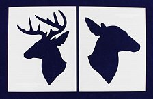 "Buy Deer/Doe Head Stencils 2 Piece Set-Mylar 14 Mil 8""x10"" Painting/Crafts/Template"