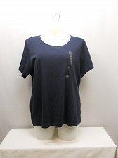 Buy PLUS SIZE 3X Women Knit Top KAREN SCOTT Solid Navy Blue Short Sleeves Scoop Neck