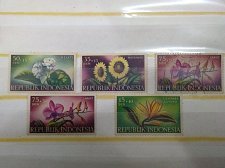 Buy INDONESIA stamp set of 5 1957 FLOWERS ORCHIDS SC # B104-B108