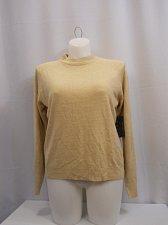 Buy Women Sweater Size XL Solid Beige DEBBIE MORGAN Mock Turtle Neck Long Sleeves