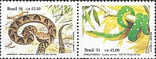 Buy BRAZIL Se-tenant 2V MNH STAMP 1991 Snakes Animals Fauna Reptiles Snakes