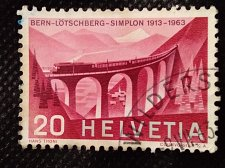Buy Switzerland 1V USED STAMP 1963 Mi770 Southern ascent with Luegelkinn viaduct