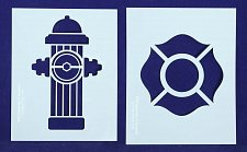 Buy Fire Hydrant/Maltese Cross Stencils-2pc -Mylar 14 Mil Painting/CraftsTemplate