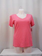 Buy Women Knit Top Plus Size 1X STYLE&CO Solid Pink Short Sleeve V-Neck 100% Cotton