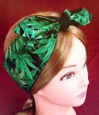 Buy Original cannabis print headband handmade unisex