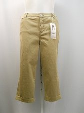 Buy Denim Capris STYLE&CO SIZE 18 Tummy Control Khaki Colored Wash Mid-Calf 44X23