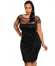 Buy Plus Size 1XL 3XL Ruched Dress CHECK IT OUT PLUS Black Embellished Scoop Neck
