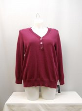 Buy Women Henley Sweater KAREN SCOTT PLUS SIZE 1X Berry Long Sleeves Medium Knit