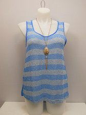 Buy PLUS SIZE 1XL 2XL 3XL Women Sheer Tank Top COLOR SWATCH Blue Sleeveless Necklace